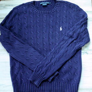 Ralph Lauren Navy Pullover Cable Sweater